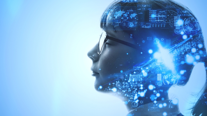 AI (Artificial Intelligence) concept. Deep learning. Mindfulness.