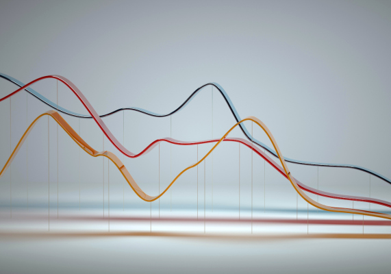Digital generated image of abstract multi colored curve chart on white background.